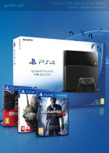 PlayStation 4 1TB + Uncharted 4: Kres Złodzieja + DriveClub + Wiedźmin III: Dziki Gon