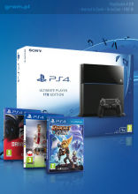 PlayStation 4 1TB + Uncharted 4: Kres Złodzieja + Ratchet & Clank + DriveClub + FIFA 16