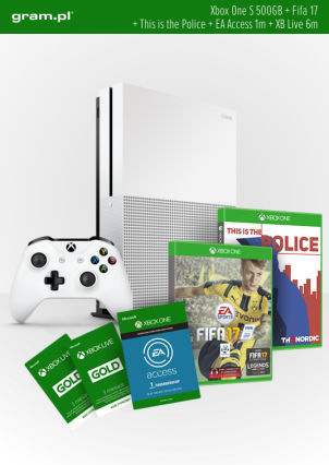 Konsola XBOX ONE S 500GB+ FIFA17+ 1m EA Access+ This is the Police+ Abonament XBOX Live Gold na 6 miesięcy