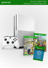 Konsola XBOX ONE S 500GB+ FIFA17+ 1m EA Access+ Farming Simulator 2017